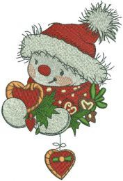 Snowman gift embroidery design