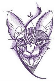 Sphynx cat geometric pattern