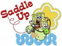 SpongeBob riding sea horse