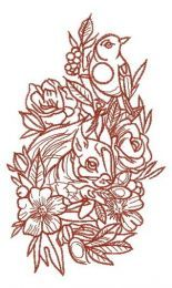 Squirrel and bird one color embroidery design