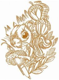 Squirrel with nuts embroidery design
