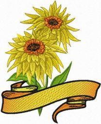2 Sunflowers with Banner
