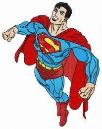 Superman flying to rescue embroidery design