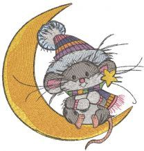 Swinging on the moon embroidery design