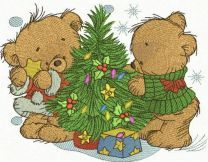 Bear decorating New Year tree