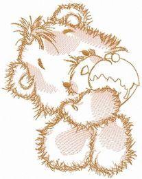 Teddy bear eats cupcake sketch embroidery design