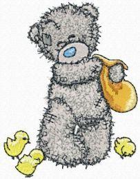 Teddy Bear feeding chickens