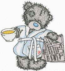 Teddy Bear favorite tea and evening newspaper