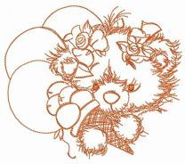 Teddy bear with balloons sketch embroidery design