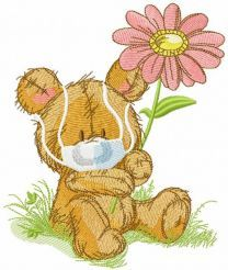 Teddy bear with medical mask embroidery design