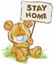 Teddy stay home embroidery design