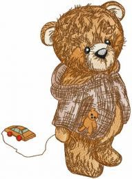 Teddy with toy car embroidery design