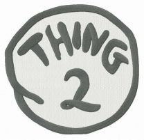 Thing 2 round badge embroidery design