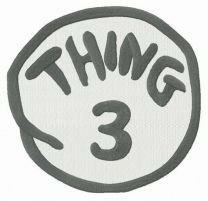 Thing 3 round badge embroidery design