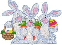 Three Easter Bunnies embroidery design