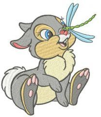 Thumper with dragonfly embroidery design