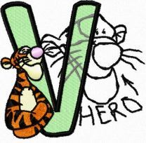 Tigger *Hero* letter V embroidery design
