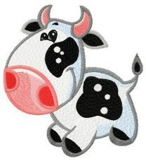 Tine cow machine embroidery design