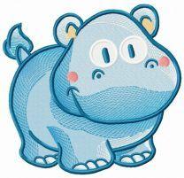 Tiny hippo embroidery design 2
