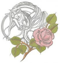 Tired horse with rose