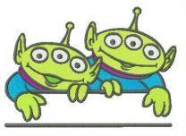 Two Aliens monogram embroidery design