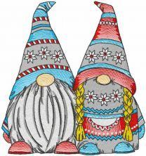 Two dwarves embroidery design