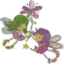 Two flying fairies with one flower