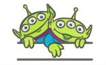 Two Little Green Men monogram embroidery design