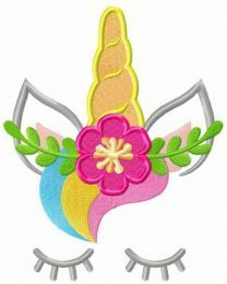 Unicorn with flower wreath embroidery design