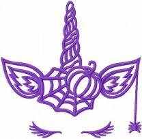 Violet halloween unicorn embroidery design