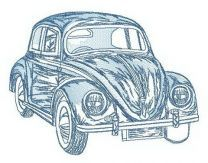 Volkswagen Bug sketch embroidery design