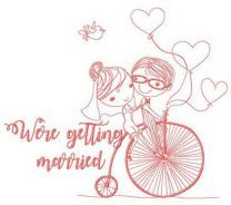 We're getting married bicycle embroidery design