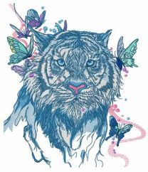 Wet tiger embroidery design