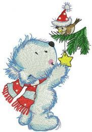 White bear decorates New Year tree