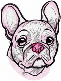 White french bulldog embroidery design 2