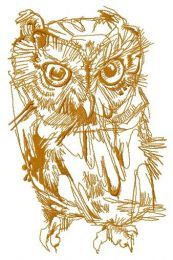 Wild owl one color embroidery design