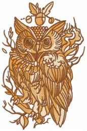 Wise owl on tree branch