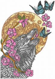 Wolf and butterflies embroidery design