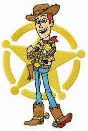 Woody in front of sheriff star