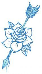 Wounded rose embroidery design