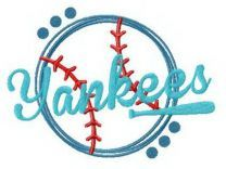 Yankees funny fan logo embroidery design
