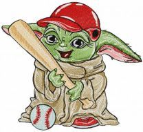 Yoda baseball player embroidery design