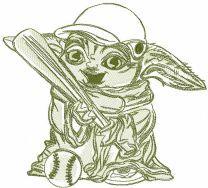 Yoda with baseball bat embroidery design