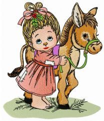 Young lady and her little pony embroidery design