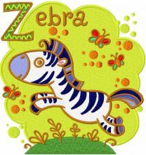 Zebra embroidery design 5