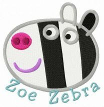 Zoe zebra embroidery design