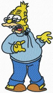 Abe Simpson embroidery design