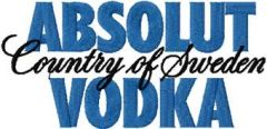 Absolut Vodka logo embroidery design