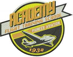 Academy flight training school embroidery design