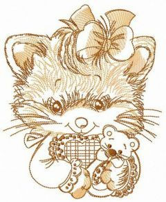 Adorable fluffy kitten embroidery design